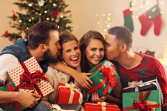 Group of friends celebrating Christmas Stock Photos