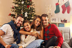 Group of friends celebrating Christmas Stock Images