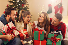 Group of friends celebrating Christmas Stock Photography