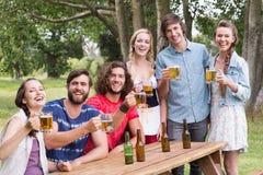 Group of friends celebrating oktoberfest Stock Photography