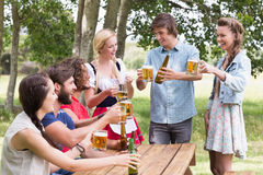 Group of friends celebrating oktoberfest Stock Images