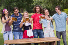 Group of friends celebrating oktoberfest Royalty Free Stock Images