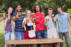 Group of friends celebrating oktoberfest Stock Photography