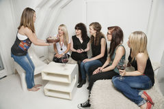 Group of friends celebrating young woman's birthday Stock Image