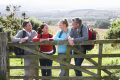 Group Of Friends On Country Walk Royalty Free Stock Images