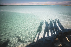 Group friends Dead Sea Israel. Shadows of group of friends at the Dead Sea in Israel Stock Photography