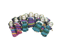 Group of Friends Don't Worry. Shown by a scattering of Worry Dolls.  Confide to the worry dolls at night your worries to relieve yourself of stress, and have a Stock Images