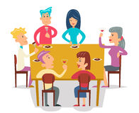 Group Friends Eat Meal Characters Celebration Party Cartoon Design Vector illustration Stock Images
