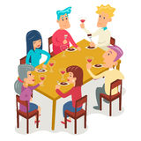 Group Friends Eat Meal Characters Celebration  Royalty Free Stock Image