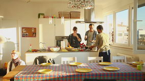 Group of friends eating lunch at home stock footage