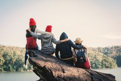 Group of friends enjoy in nature. Relax time on holiday concept ,selective and soft focus,tone of hipster style Royalty Free Stock Photo