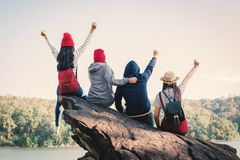 Group of friends enjoy in nature. Relax time on holiday concept ,selective and soft focus,tone of hipster style Royalty Free Stock Images