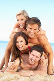 Group Of Friends Enjoying Beach Holiday royalty free stock image