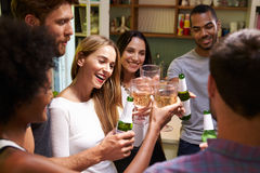 Group Of Friends Enjoying Drinks Party At Home Stock Images