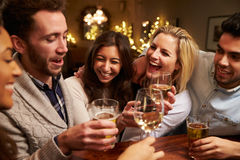 Group Of Friends Enjoying Evening Drinks In Bar Royalty Free Stock Photos
