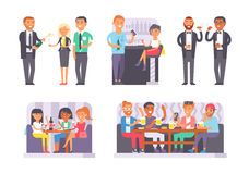 Group of friends enjoying evening drinks in bar alcohol people character vector illustration. Royalty Free Stock Photo