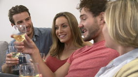 Group Of Friends Enjoying Glass Of Wine At Home stock video footage