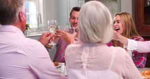 Group Of Friends Enjoying Meal At Home Together stock footage