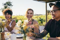 Group of friends enjoying meal at outdoor party. Group of friends enjoying meal at party. Man and women sitting around a table and smiling at restaurant royalty free stock images