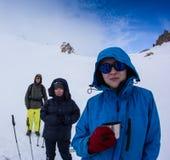 Group of friends, enjoying at mountain ski resort Stock Photo