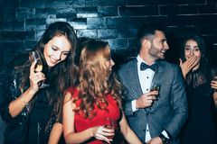 Group of friends enjoying party, having fun and dancing Stock Photos