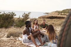 Group Of Friends Enjoying Picnic On Cliffs By Sea Stock Photography