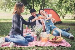 Group of friends enjoying picnic while drinking a orange juice o royalty free stock images