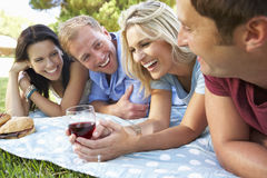 Group Of Friends Enjoying Picnic Together Royalty Free Stock Photography