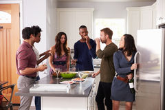 Group Of Friends Enjoying Pre Dinner Drinks At Home Royalty Free Stock Photo