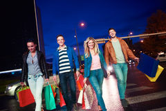 Group Of Friends Enjoying Shopping. Trip Together Royalty Free Stock Photography