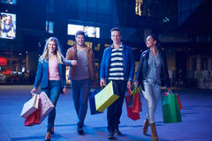 Group Of Friends Enjoying Shopping. Trip Together Royalty Free Stock Photos