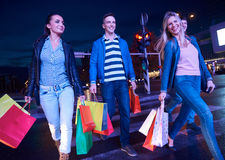 Group Of Friends Enjoying Shopping. Trip Together Stock Image