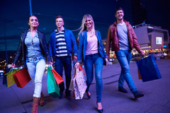 Group Of Friends Enjoying Shopping Stock Images