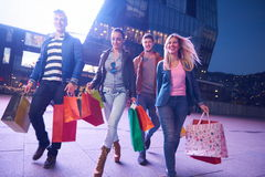 Group Of Friends Enjoying Shopping. Trip Together Royalty Free Stock Photo