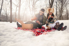 Group of friends enjoying in the snow in winter. Group of millenial young adult friends enjoying wintertime and in a snow filled park royalty free stock photo