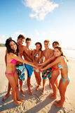 Group of friends enjoying their summer vacation Stock Images