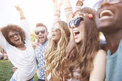 Group of friends at the festival Royalty Free Stock Images