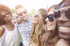 Group of friends at the festival Royalty Free Stock Image