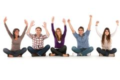 Group of friends on the floor Royalty Free Stock Photography