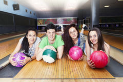 Group of friends getting ready to play bowling Stock Photography