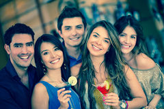 Group of friends going out Stock Photo