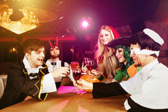 Group of friends halloween party stock photography