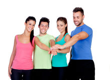 Group of friends with the hands together Stock Photo