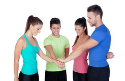Group of friends with the hands together Stock Photos
