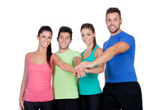Group of friends with the hands together Stock Images
