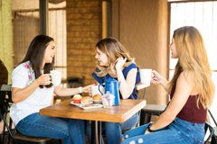 Group of friends hanging out at cafe. Group of pretty women enjoying some coffee together in a restaurant and gossiping stock image