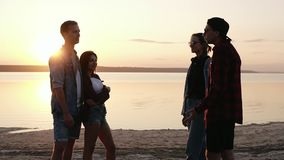 Group of friends hanging together on the beach. Sunset above the water. Beautiful two couples. Talking, gesturing stock footage