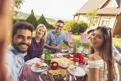 Backyard barbecue party selfie. Group of friends having a backyard barbecue party, having fun taking selfies stock photo