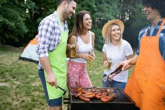 Group of friends having a barbecue and grill party in nature royalty free stock photos