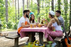 Group of happy friends having a barbecue party in nature stock images